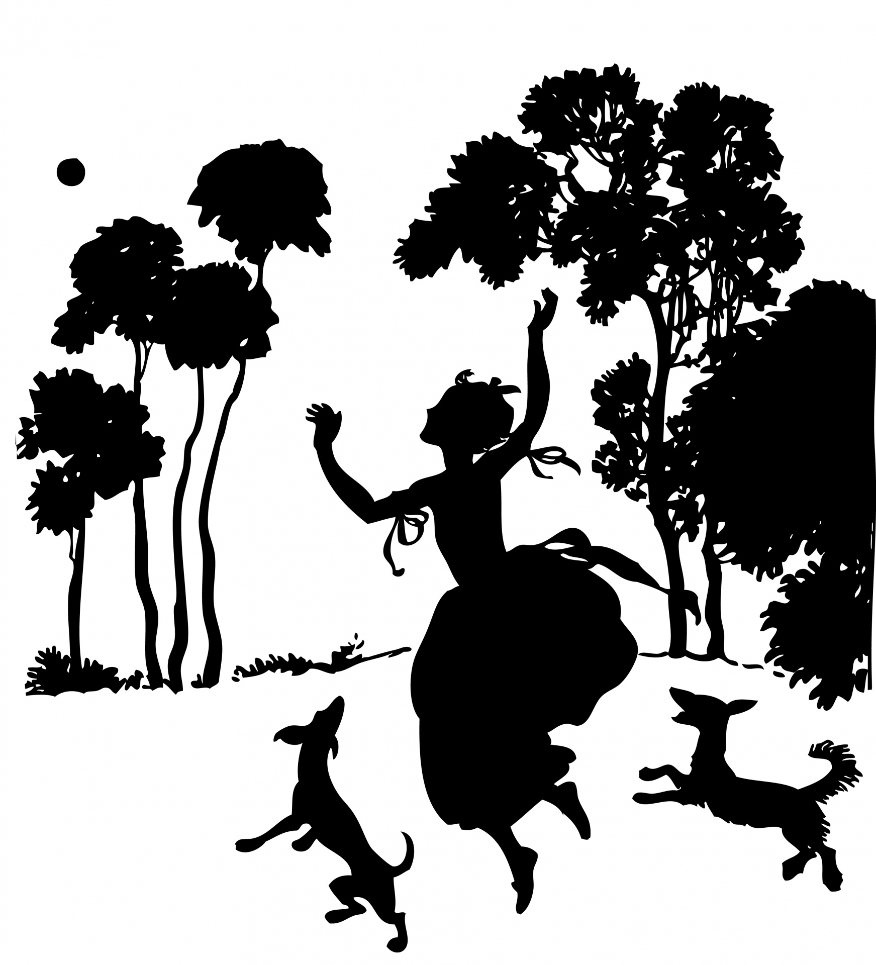 1743x1920 Girl, Dogs, Trees Silhouette Free Stock Photo