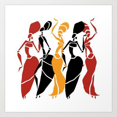 400x400 Abstract African Dancers Silhouette. Figures Of African Women. Art