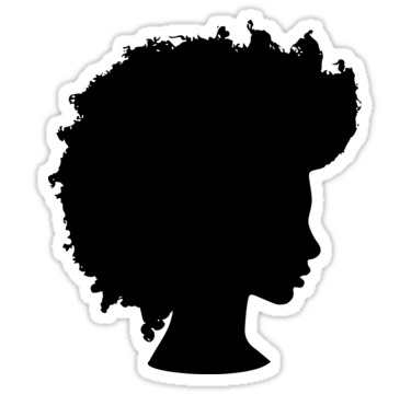 375x360 Afro Girl Silhouette Stickers By Paperflodesigns Redbubble