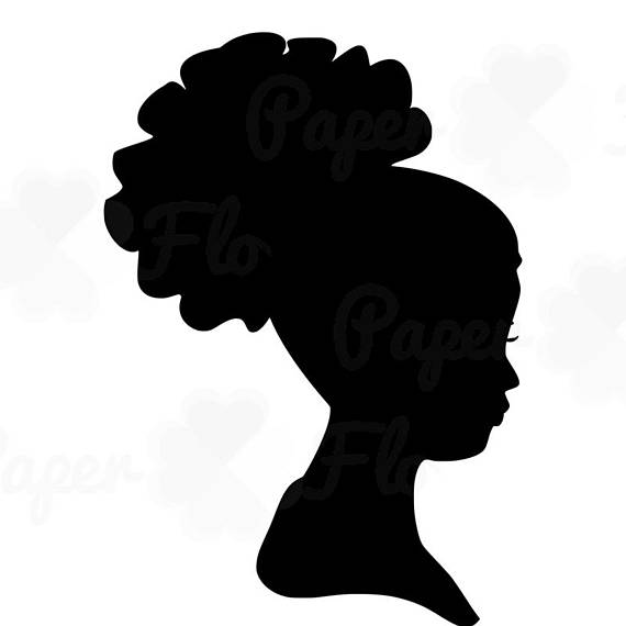 570x570 African Woman Silhouette Svg Clip Art Afro Puff Natural Curly