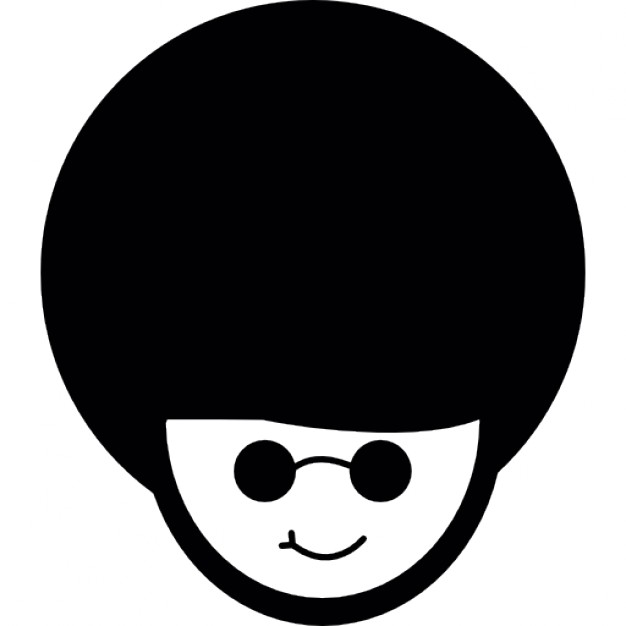 626x626 Afro Hair Look Combined With Rounded Circular Glasses Icons Free