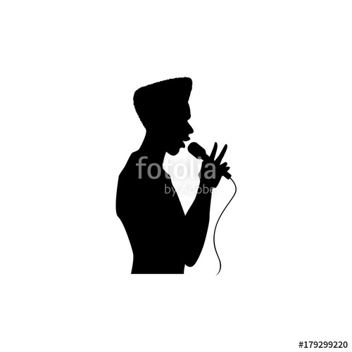 500x500 Vector Man Afro American Portrait Silhouette Singing