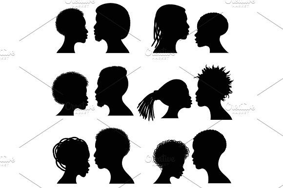 580x386 African Female And Male Face Vector Silhouettes. Afro American