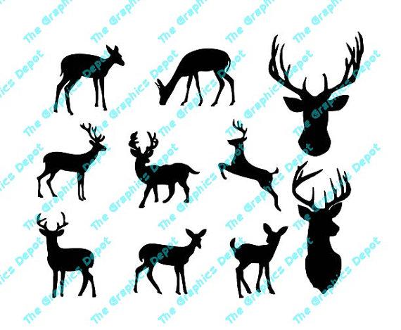 570x469 Deer Silhouette Instant Download