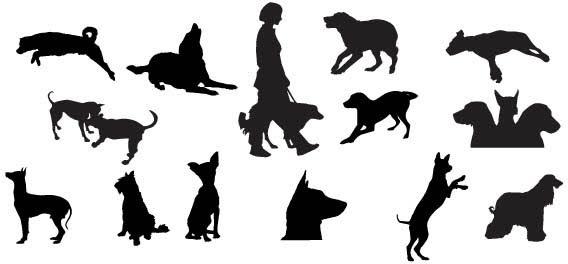 568x264 Dog Silhouettes Free Vector In Adobe Illustrator Ai ( Ai ) Vector