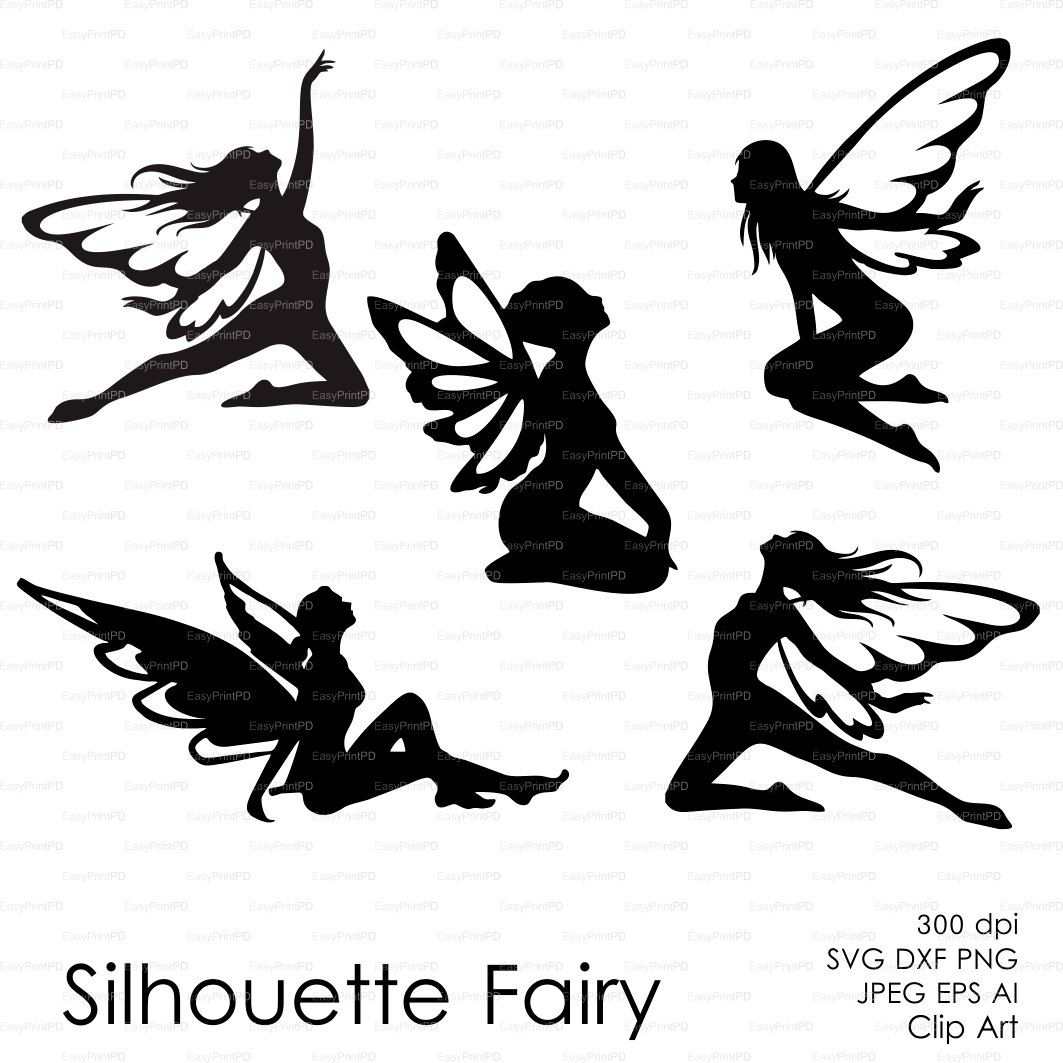 1063x1063 Fairy Butterflies Silhouette (Eps, Svg, Dxf, Ai, Png) Vector