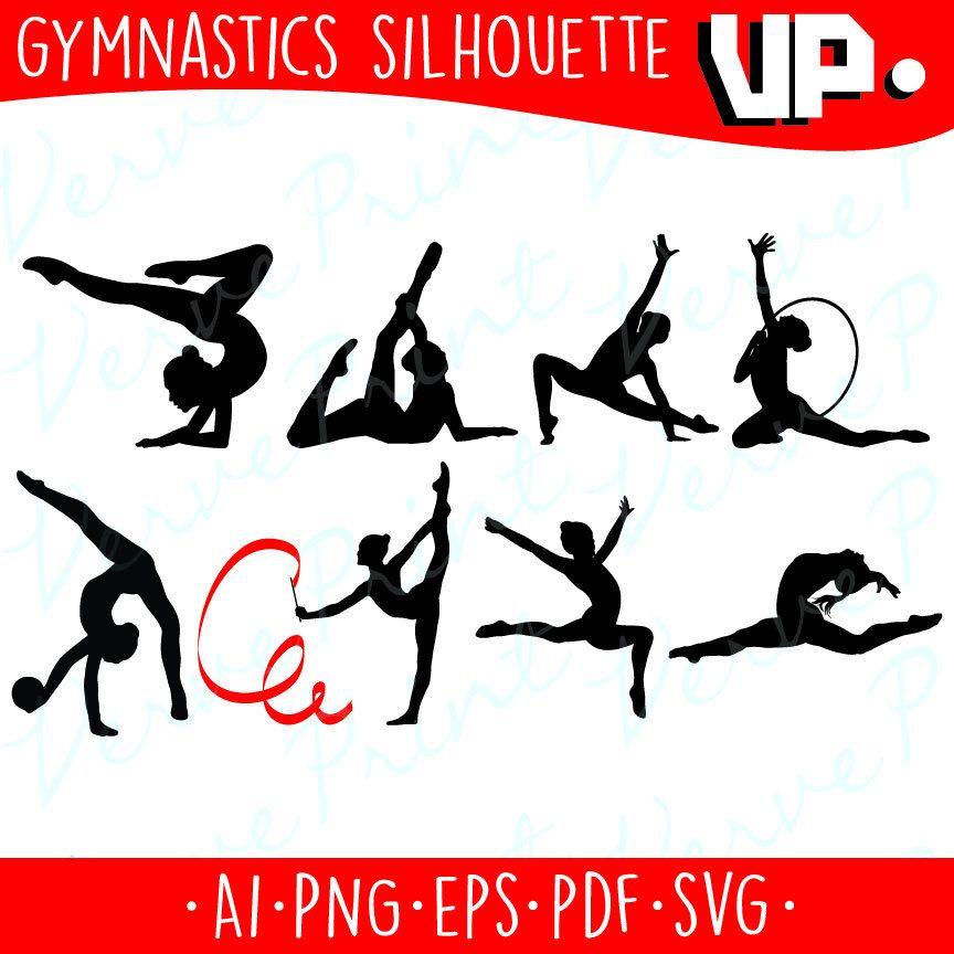 864x864 Gymnastic Silhouette Svg, Ai, Eps, Pdf Cutting File, Gymnastic Svg