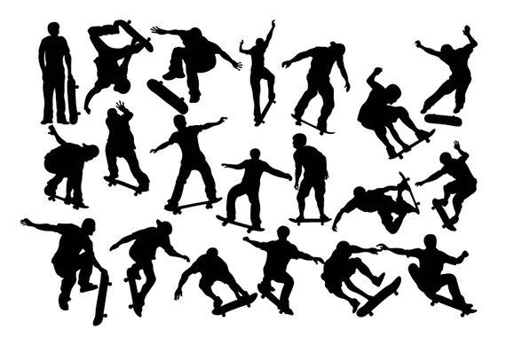 570x380 Skateboarding Clip Art, Skateboard Silhouette , Skater Clipart