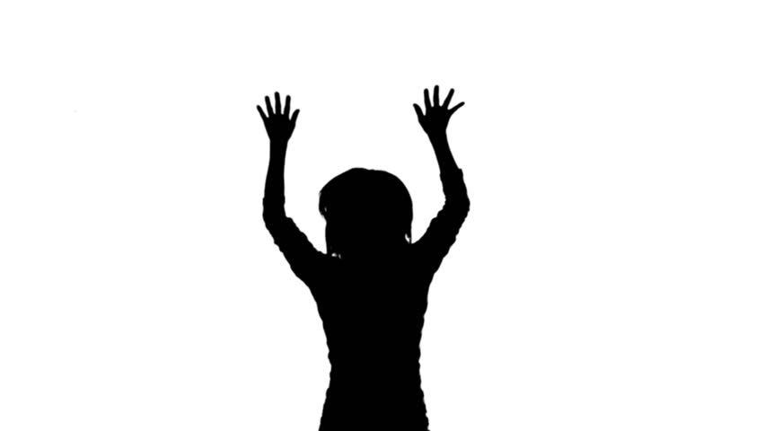 852x480 Jumping Woman With Hands In The Air. A Silhouette For A Crowd