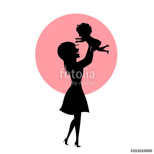 500x500 L Mother And Baby Daughter Playing, Mom Lifting Up Child In