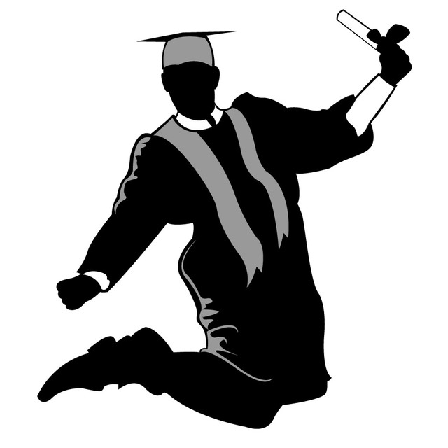 640x640 Free Vectors Happy Graduate Silhouette Jumping In The Air