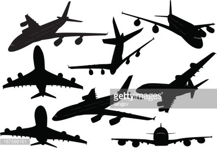 441x300 Airplane Silhouette Collection Premium Clipart