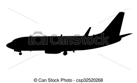 450x273 Airplane Silhouette Isolated On White Stock Image