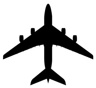 320x292 Jet Aircraft Silhouette 3 Decal Sticker