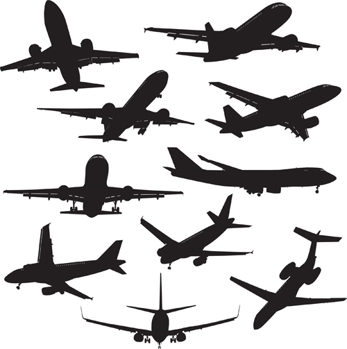 500x503 Silhouette Aircraft Set Vector 02