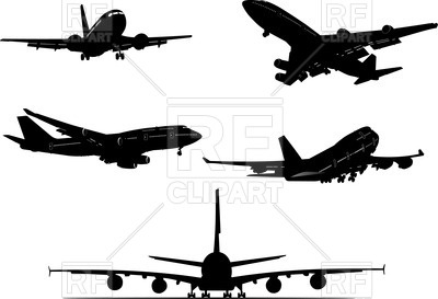 400x273 Aircraft Silhouettes , Differnt View Royalty Free Vector Clip Art