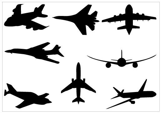 515x361 Airplane Silhouette Clip Art Pack Download Free Airplanes, Clip