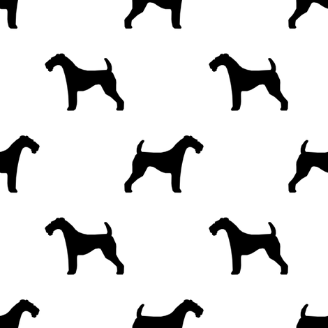 470x470 Airedale Terrier Silhouette Dog Fabric White Fabric