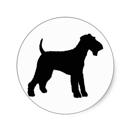 512x512 Airedale Terrier (Black) Classic Round Sticker Silhouettes