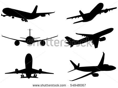 450x338 Vector Illustration Of Silhouette Of Airplanes Airbus Or Plane By