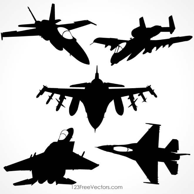 660x660 Military Airplanes Silhouettes