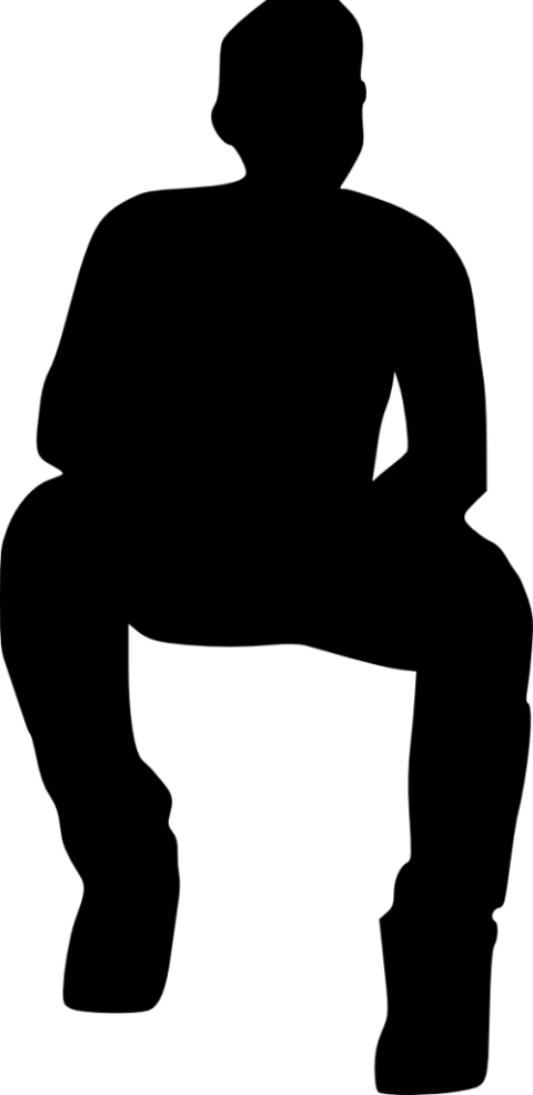 480x986 People Sitting Silhouette Png