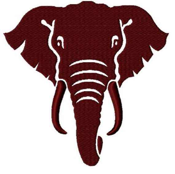570x569 Elephant Face Silhouette Fill Embroidery Design File 4 Sizes