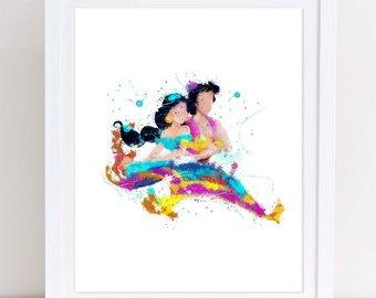 340x270 Aladdin Watercolor Etsy