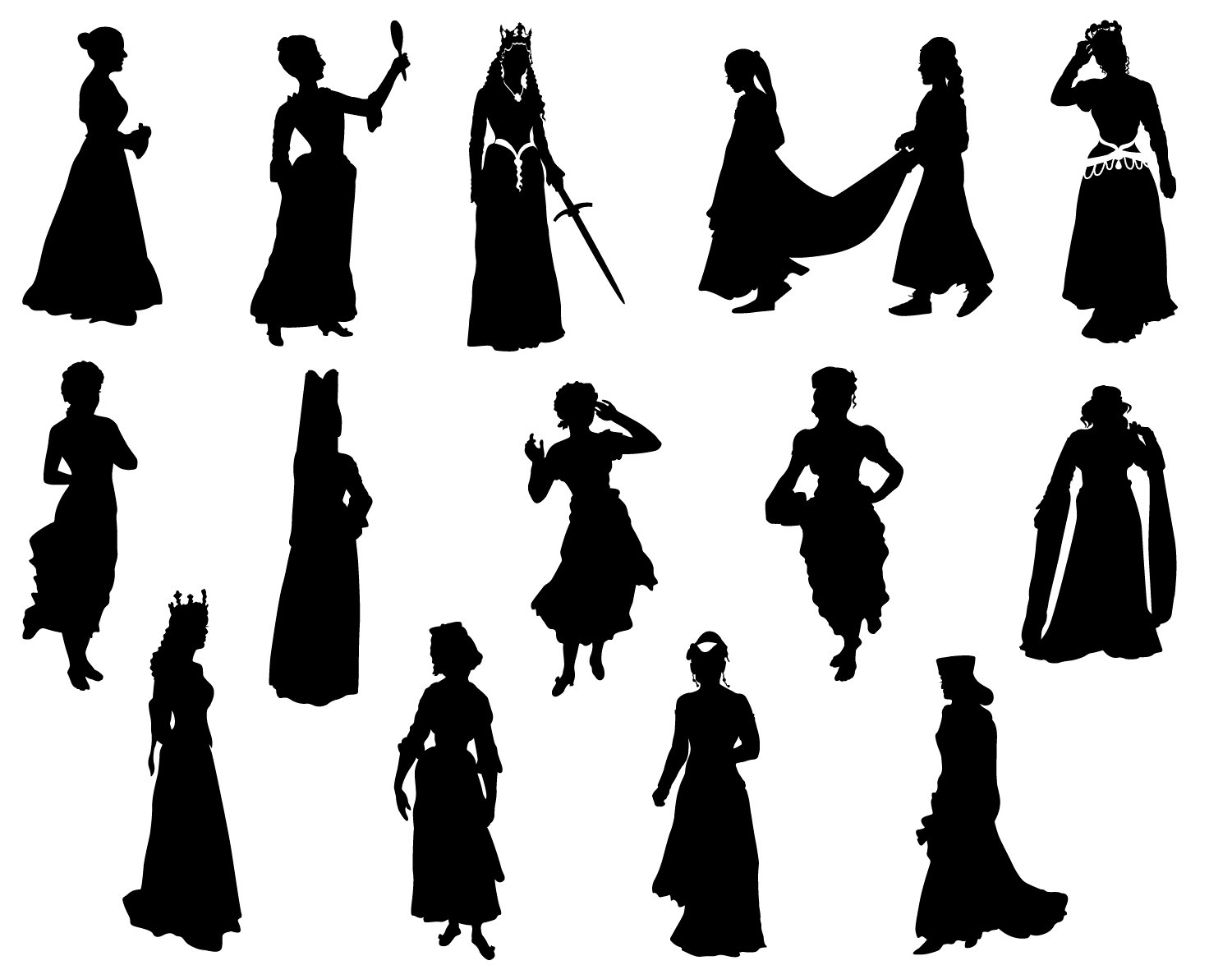 1500x1192 Svg Princess Silhouette Cricut Medieval Girl Cameo Queen Fairy
