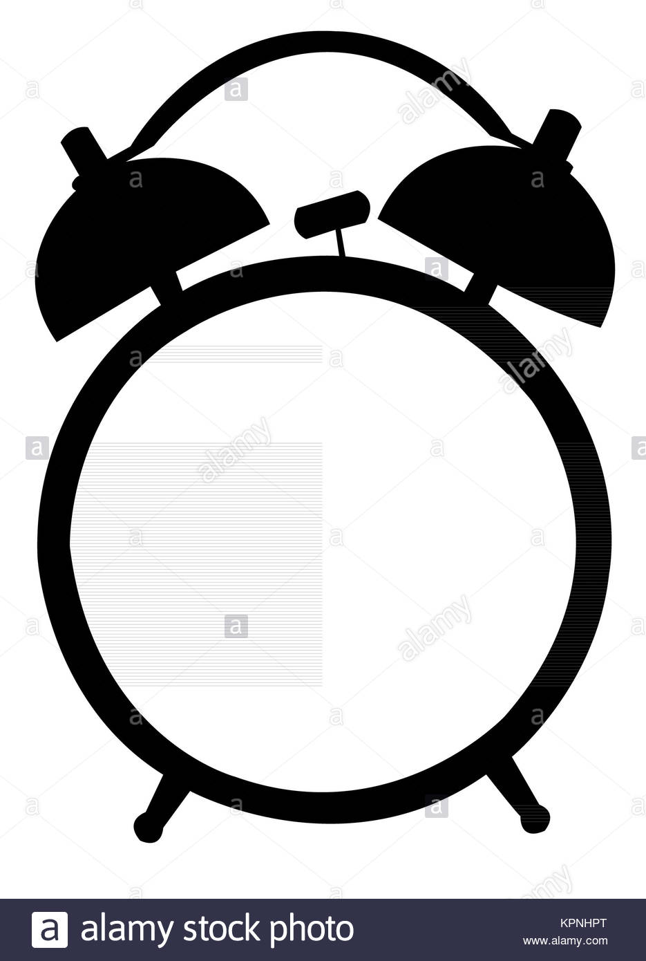 935x1390 Classic Alarm Clock. Silhouette, Black On White Stock Photo