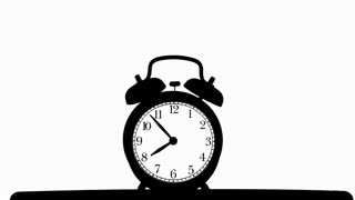 320x180 Old Fashioned Alarm Clock Ringing On White Background. Stock Video