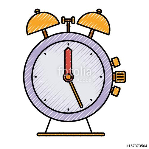 500x500 Colored Crayon Silhouette Of Antique Alarm Clock Vector