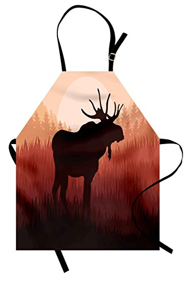371x550 Moose Apron By Ambesonne, Antlers In Wild Alaska
