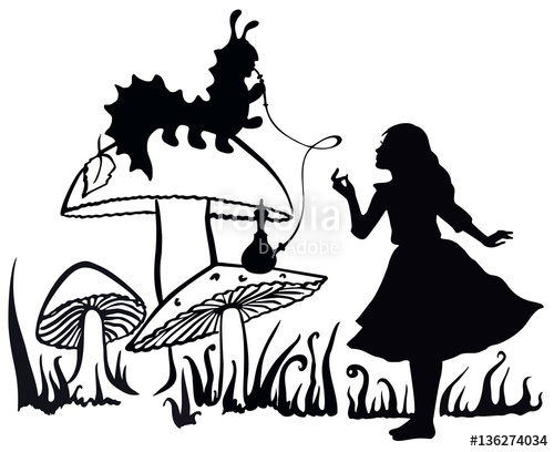 500x408 Alice In Wonderland Ink Sketch. Alice Speaking With The Smoking