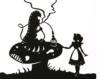 340x270 Down The Rabbit Hole Alice In Wonderland Silhouette Print