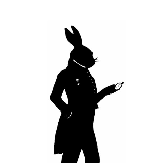 570x570 The White Rabbit Alice In Wonderland Silhouette Print Black