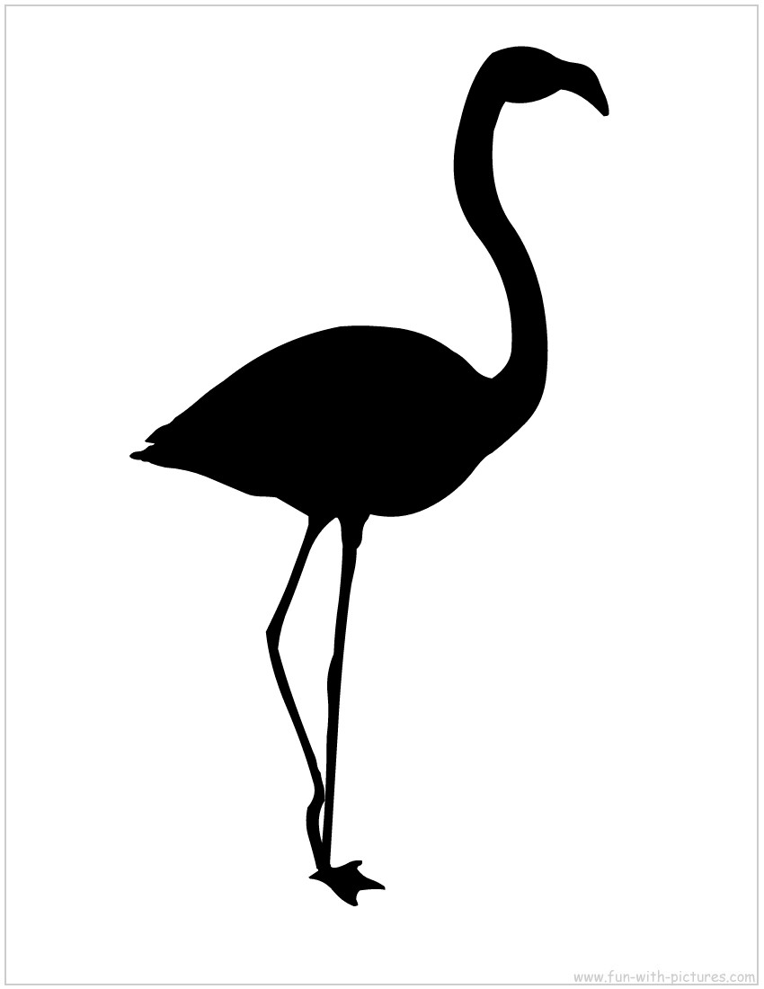 850x1100 Black Clipart Flamingo