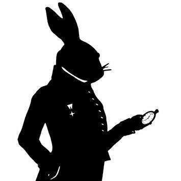 355x355 The White Rabbit Alice In Wonderland Silhouette Print