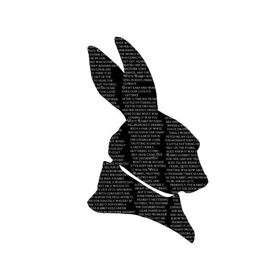 570x570 White Rabbit Alice In Wonderland Silhouette Print Black