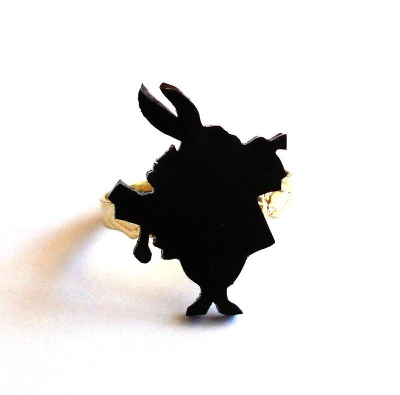 800x790 White Rabbit Silhouette Ring By Fatallyfeminine