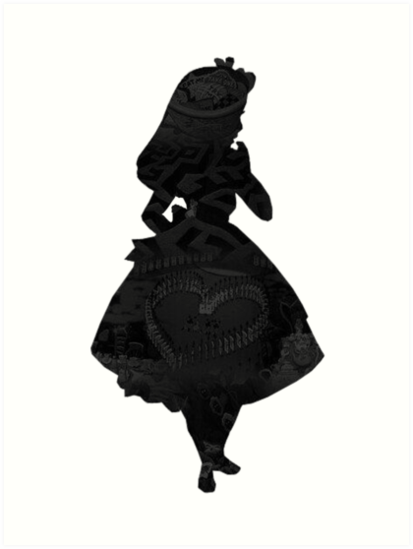 413x549 Alice In Wonderland, Black Picture Silhouette Art Prints By