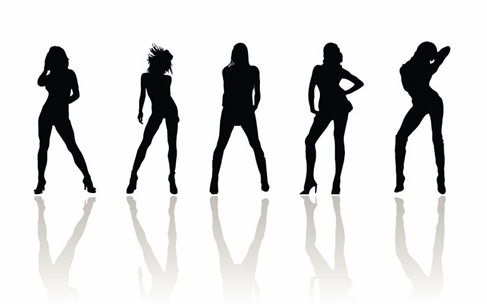 487x304 Vector Beauty Woman Silhouettes Free Vector Graphics All Free