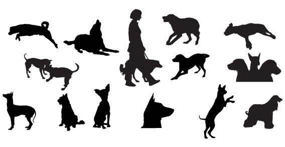 568x294 Dog Silhouettes Free Vector Dog Silhouette, Silhouette And File