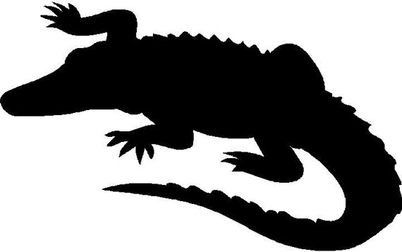 570x357 Alligator Animal lover Silhouette die cut Vinyl decal sticker.