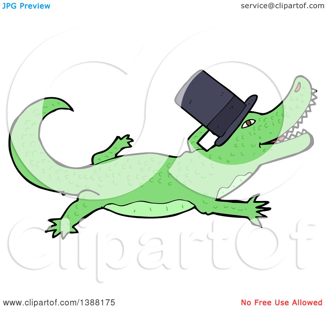 1080x1024 Clipart Of A Green Crocodile Or Alligator Wearing A Top Hat