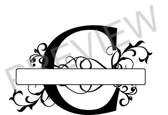 570x391 Split Monogram Svg, Letter C Regal Split Alphabet, Vector Files