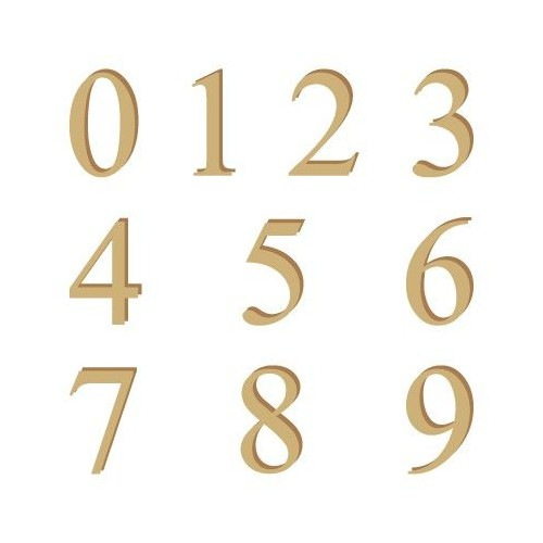 500x500 Alphabet Silhouette Numbers 001 Times 15mm