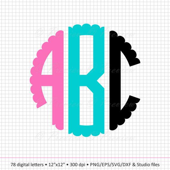 570x570 Buy 2 Get 1 Free! Digital Clipart Scalloped Circle Alphabet