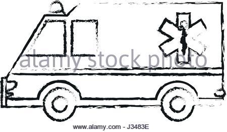 450x261 Black And White Drawing Of An Ambulance Stock Photo 31515352