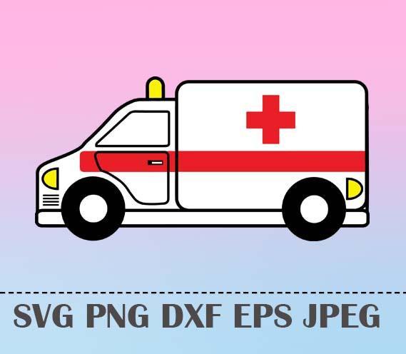 569x496 Svg Ambulance Vector Layered Cut File Silhouette Cameo Cricut